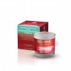 Масажна свещ с вкус на ягодово суфле DONA KISSABLE MASSAGE CANDLE STRAWBERRY