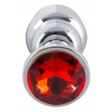 Алуминиева анална тапа с червен кристал