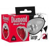 Алуминиев анален плуг с декоративно кристално сърце 159г